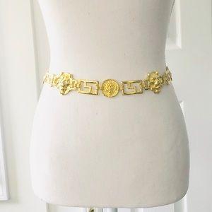 Vintage Gold Brass Chain Link Lion Head Belt